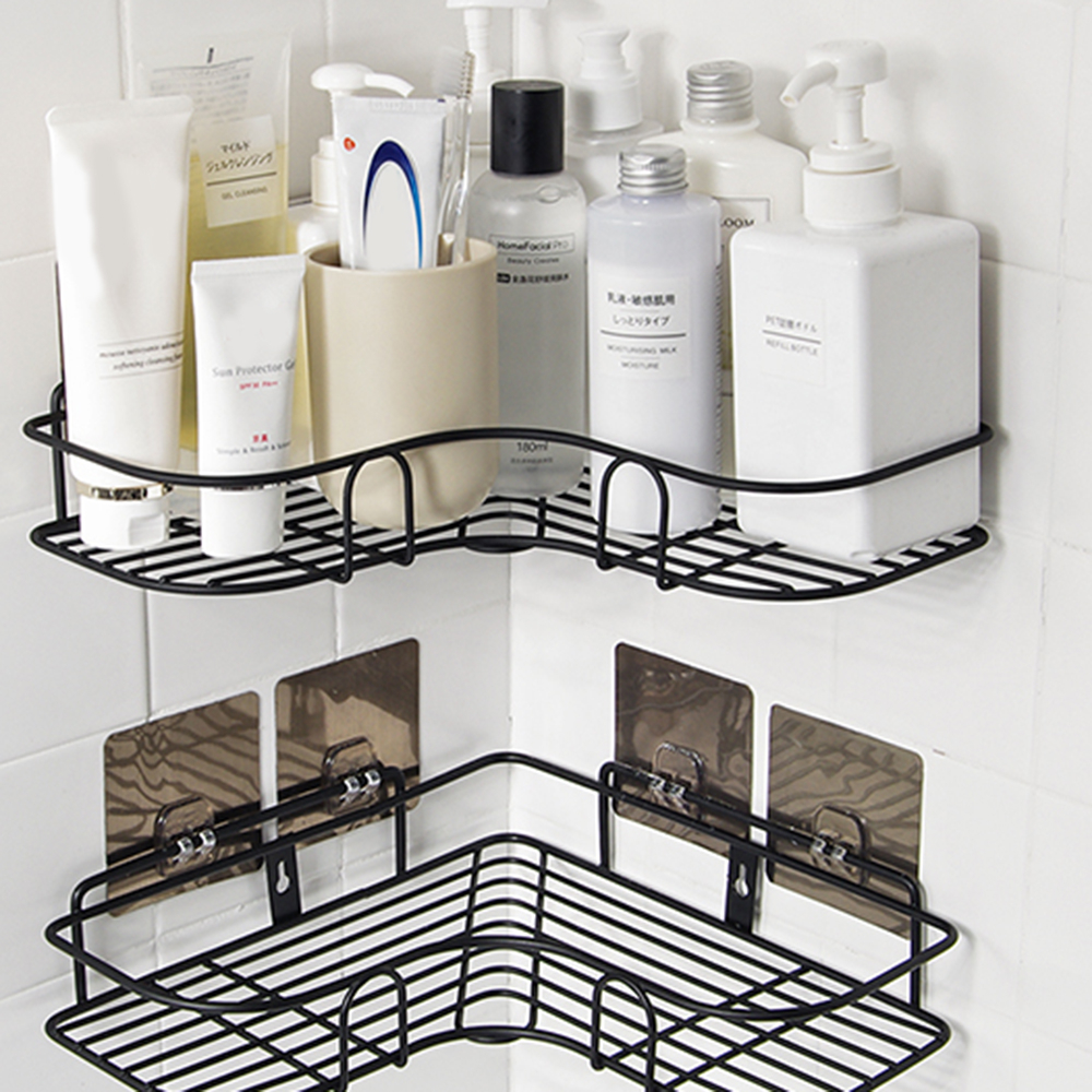 Bathroom Punch Free Corner Frame Shower Shelf Wrought Iron Shampoo Storage Rack Holder With 4 Suction Cup Sticker Hangers