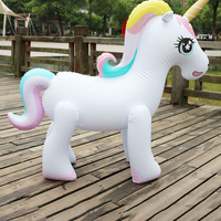 2019 Newest Outdoor Inflatable Unicorn Sprinker Water Spray Toys for Adults Kids Garden Game Rainbow Floating Pool Accessories