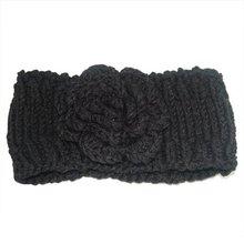 2017 NEW Black Female handmade Chunky Flower Head Wrap Hand Knit Head Band Ear Warmers