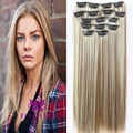 "24"" 60cm Thick Full Head Clip In Hair Extensions Mix Blonde Brown Long Hairpieces Synthetic Fake False Natural Hair Piece B40"