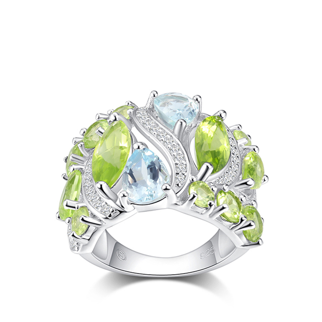 PJC 925 Sterling Silver Rings Created Natural Gemstone 3.28cts Peridot And 0.17c