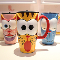 OUSSIRRO Painted Ceramic Mug Creative Stylish Mug Coffee cup with lid with spoon Large capacity Cartoon Cup L2048
