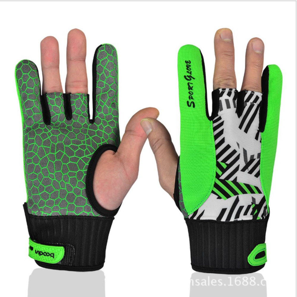 BOODUN Professional anti-skid  bowling gloves Comfortable Bowling accessories Semi-finge ...