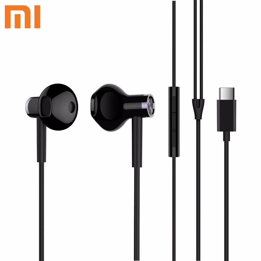 2018 New Xiaomi Mi Dual Driver Earphones Type-C MEM Mic Tenacity Wire Control Half-In-Ear Earphone DC Dynamic original xiaomi mi capsule half in ear earphones mic white