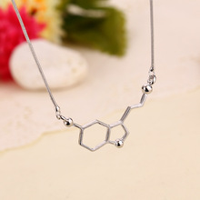 Charms Chemistry Dopamine Design Silver Plated Pendants Necklaces 3 Beads Suspension For Best Friend Bijouterie Collier