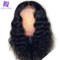 Peruvian Lace Front Wig Human Hair With Baby Hair 13x6 Frontal Wig Wavy Pre Plucked Natural Black Non Remy Hair For Women Luffy