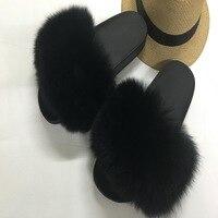 Women Fur Slippers Luxury Real Fox Fur Beach Sandal Shoes Fluffy Comfy Furry Flip Flops