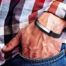 Custom Mens Leather Bracelet Flat Thin Black Double Chain Link Wrap Wrist Boyfreind Husband DIY Adjustable Jewelry