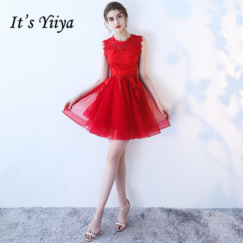 It's YiiYa Red Black Hot Sales Sleeveless Fashion Designer Elegant   Cocktail   Gowns Flowers Lace   Cocktail     Dress   LX397