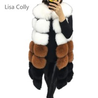 Lisa Colly New winter Coat Overcoat women's fur vest coat Warm long vests furs vests Women faux fur vest coat outerwear jacket