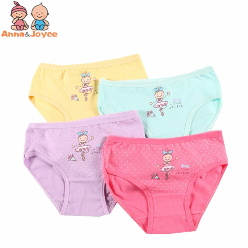4 Pcs/lot 100% Cotton Dot Cartoon Pattern Candy Colors Triangle Pants Suitable For 2-10 Years Girl ATNN0059