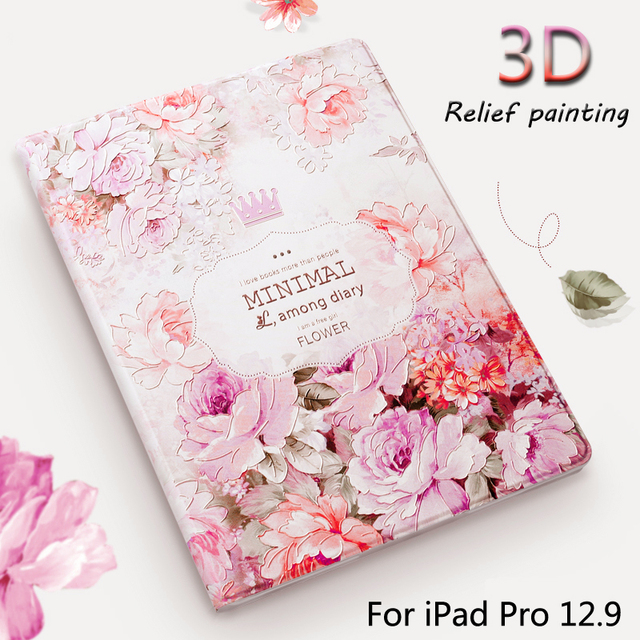 Luxury Designer Case For iPad Pro 12.9 inch Tablet Smart Stand Case 3D Relief Embossing For iPad Pro12.9 Cover case + Gift