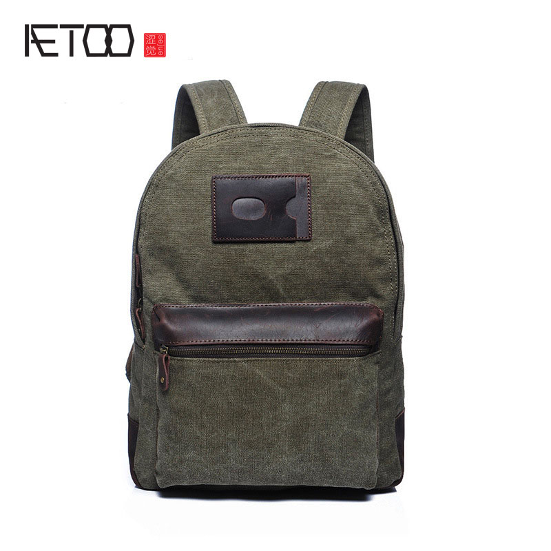AETOO new retro shoulder bag factory direct new retro bag canvas with leather student bagAETOO new retro shoulder bag factory direct new retro bag canvas with leather student bag