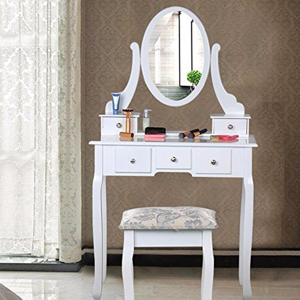 Homdox Dressing Table with Mirror 5 Drawers Oval Mirror Makeup Desk with Stool for the Bedroom Furniture Elegant White #20-20