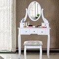 Homdox Tocador con Espejo de 5 Cajones y Oval Espejo de Maquillaje Escritorio con Taburete para los Muebles del Dormitorio Elegante Blanco