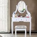 Penteadeira com Espelho Homdox 5 Gavetas e um Espelho Oval Mesa De Maquiagem com Fezes para a Mobília Do Quarto Branco Elegante