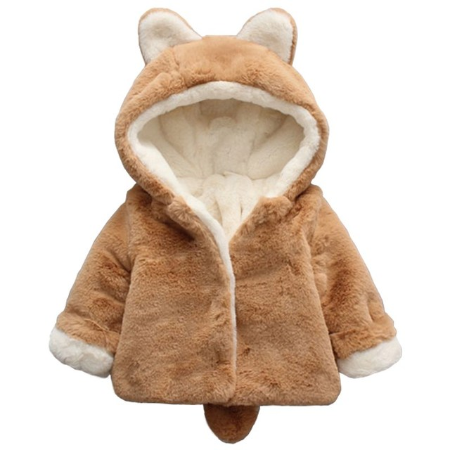 76d4ed25 Baby Boys Girls Jacket Winter Clothes Faux Fur Fleece Coat Thick Cartoon  Rabbit Children's Cotton Clothing With Hooded Outerwear