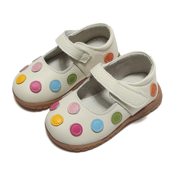 100% leather shoes soft baby kids white mary jane with multicolored polka dots classic for little girls children cute