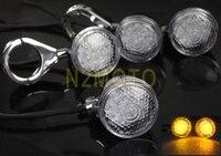 Aluminum Motorcycle LED Front Rear Turn Signal Light Indicator Chrome Custom 41MM Fog Fork Lamp For Cafe Racer Chopper Sportster