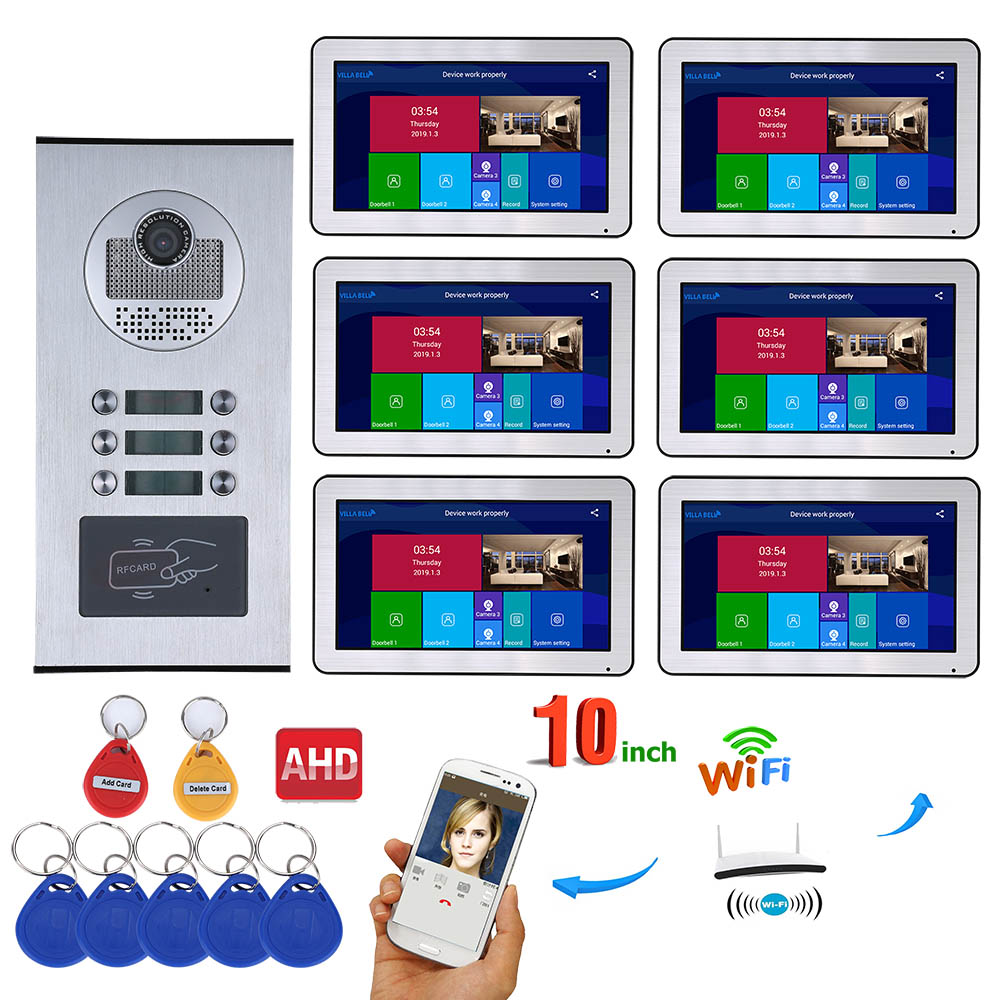 MAOTEWANG Wired Video Intercom Systems 6 Apartments 10 Inch Wifi Video Door Phone System RFID IR-CUT HD 720P Doorbell Camera