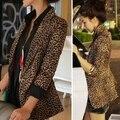 Top Quality mulheres blazers e casacos da longo-luva de slim único botão blazer Feminino Blaser Leopardo