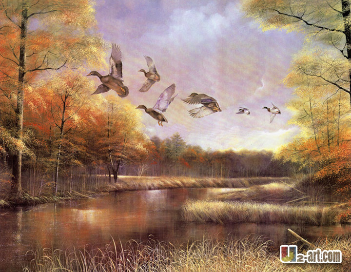 Aliexpress.com : Buy Flying birds and beautiful scenery canvas ...