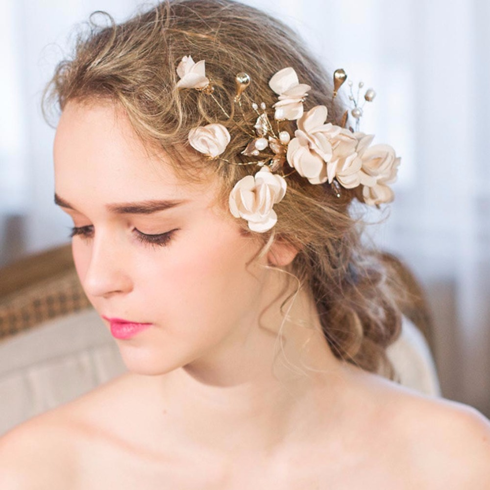 Hot Sale Fashion Women Bride Flowers Headband Rose Flower Crown Hairband Ladies Wedding Party Hair Accessories