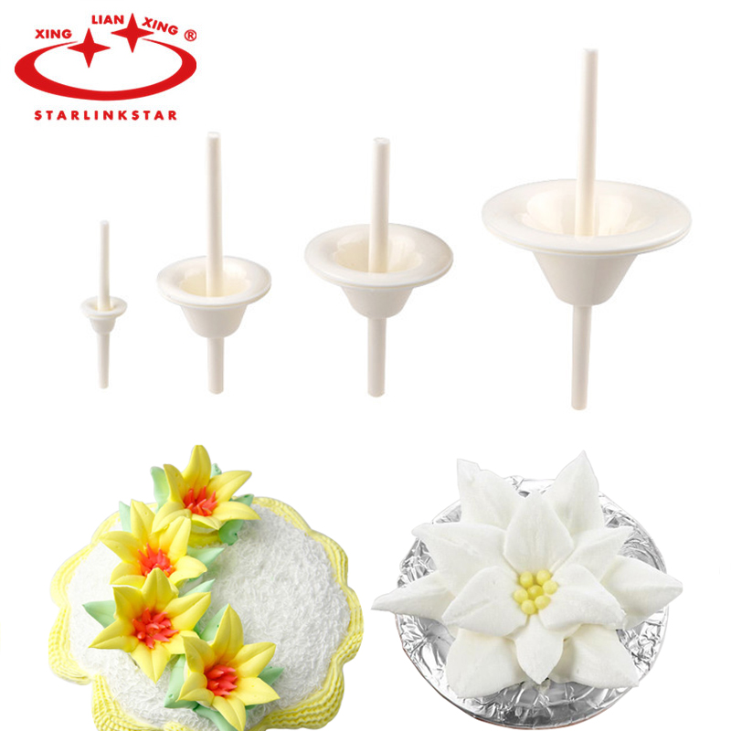 Lily Nail Cake Decorating : 4pcs/set Lily Shape Cake Cupcake Stand Icing Cream ...