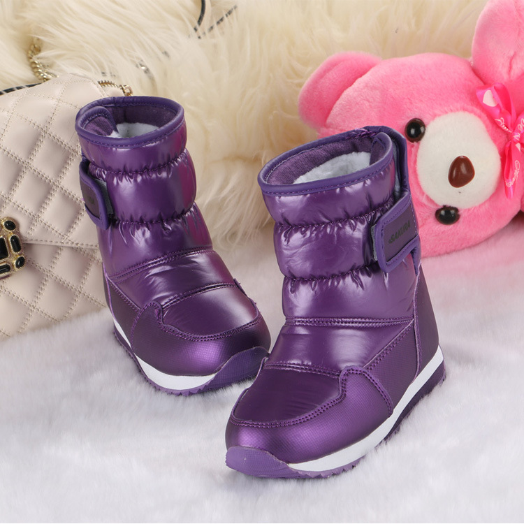 Kids Leather Snow Boots Baby Girls Boys Winter Shoes Children Waterproof Warm Antiskid Fashion Thicken Ankle Cotton Outdoor Bota 2014 new autumn and winter children s shoes ankle boots leather single boots bow princess boys and girls shoes y 451