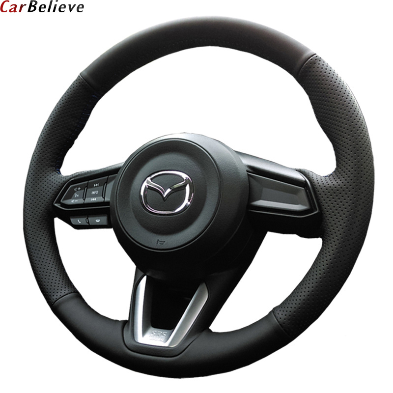 Car Believe Genuine Leather car steering wheel cover For mazda 6 gh gj cx-7 cx-5 3 2017 2018 2016 steering wheel car accessories free shipping car styling sew on genuine leather car steering wheel cover car accessories for 2015 2016 new ford mustang