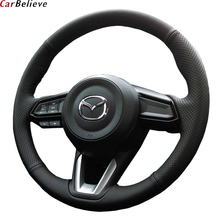 Car Believe Genuine Leather car steering wheel cover For mazda 6 gh gj cx-7 cx-5 3 2017 2018 2016 steering wheel car accessories mewant black suede genuine leather car steering wheel cover for chevrolet niva 2009 2017 3 spoke