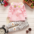 2016 Spring Autumn children baby girls clothing sets cotton cardigan suit set kids flower coat + pants 2pcs outfit clothes set