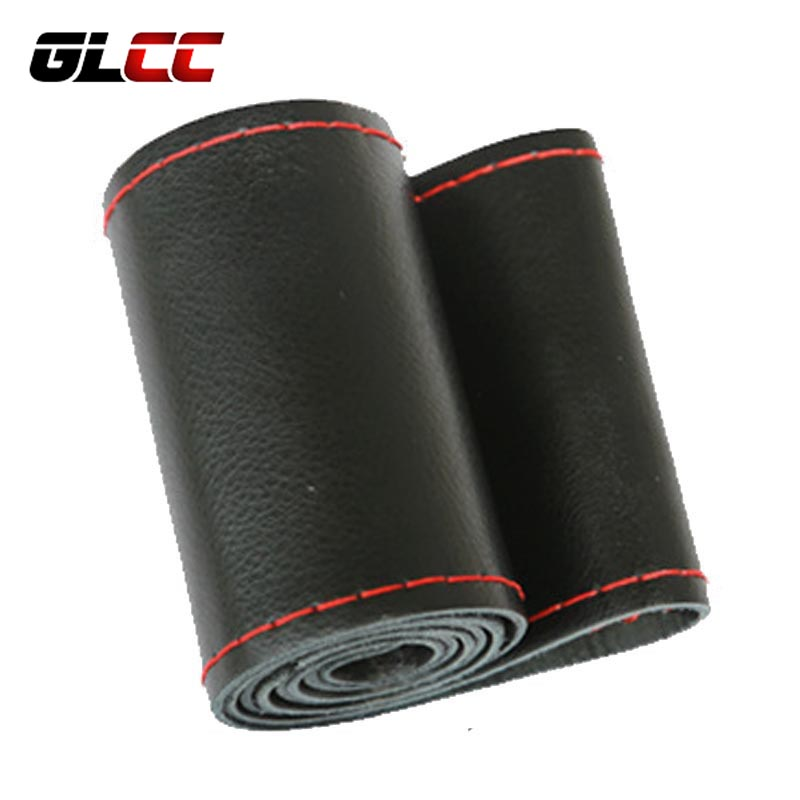 GLCC Hand Stitched Soft Cowhide Car Braid Былғары рульдік доңғалақ қақпағы 38CM With Needles Thread 5 Түстер Интерьер Аксессуарлар