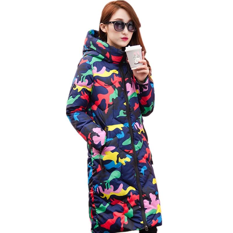 Print Fashion Thick Hooded Warm Parka Femme Cotton Padded Casual Long Winter Coat Women Camouflage Wadded Jacket Women TT3396 zoe saldana 2017 winter jacket women warm fleece hooded cotton padded jacket camouflage thick long wadded parka
