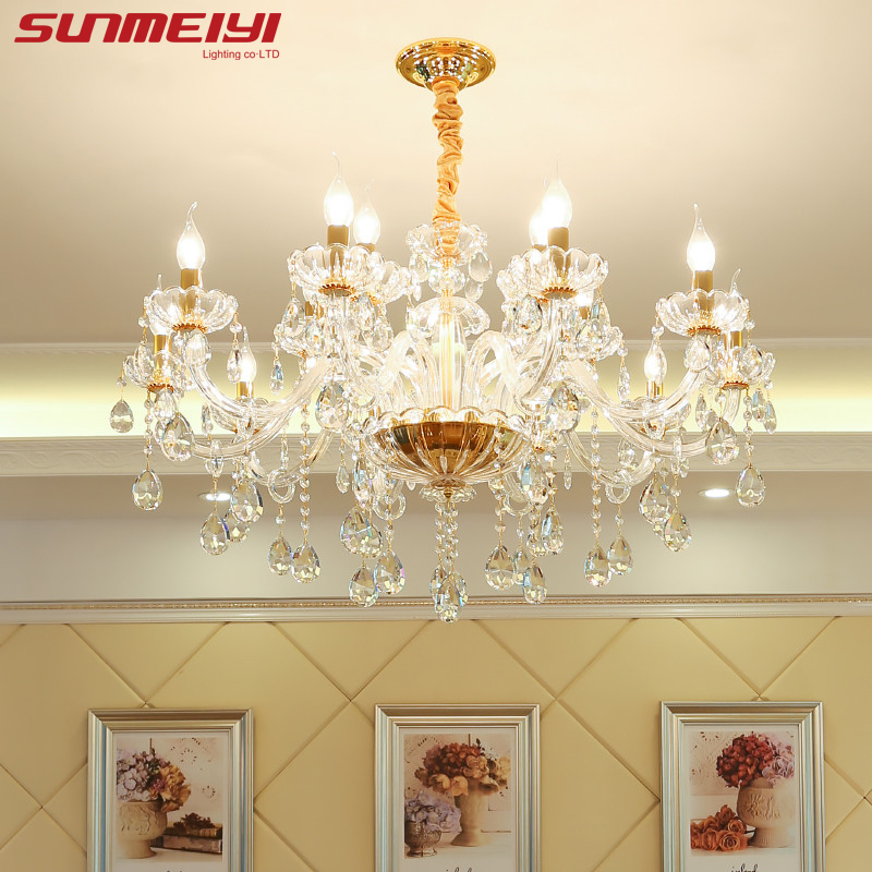 New Luxury K9 Crystal Chandeliers Lighting Gold Candle LED Pendant Hanging Living Room Lustres De Cristal Lamp Fixtures top245pn dip 7