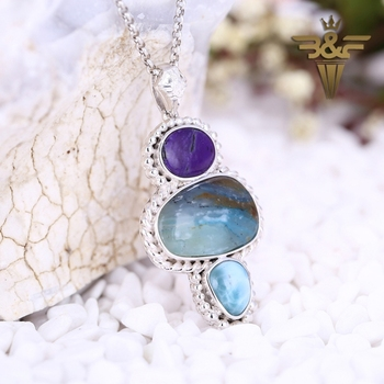 2017 Hot sale!!Natural Gemstone Jewelry,Sugilite with Larimar,Blue Opal Pendant Bead,38x22x5mm,11.92g