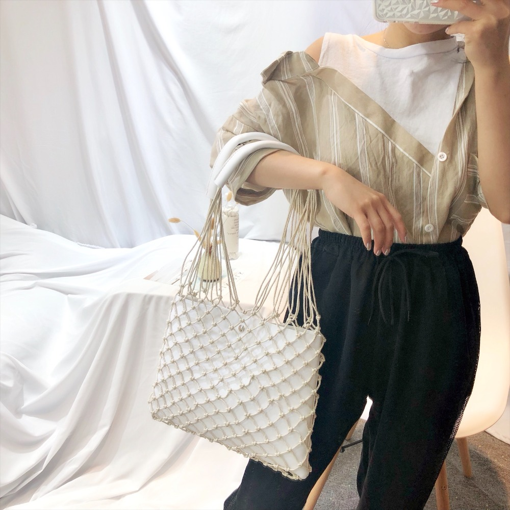 Designer Casual Hollow Net Flap Bag Pu Leather Hollow Women Shoulder Bag Hemp Rope Woven Handbag Bohemian Beach Bag Lady Handbag 3
