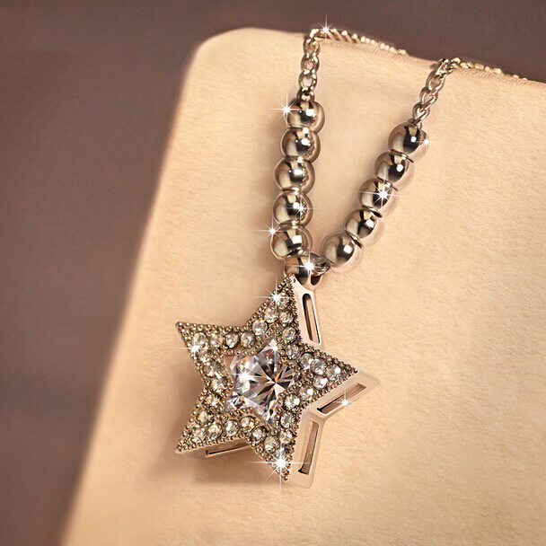 925 sterling silver star beads necklaces pendants for women 925 sterling silver star beads necklaces pendants for women rhinestones necklace sterling silver jewelry collier aloadofball Images