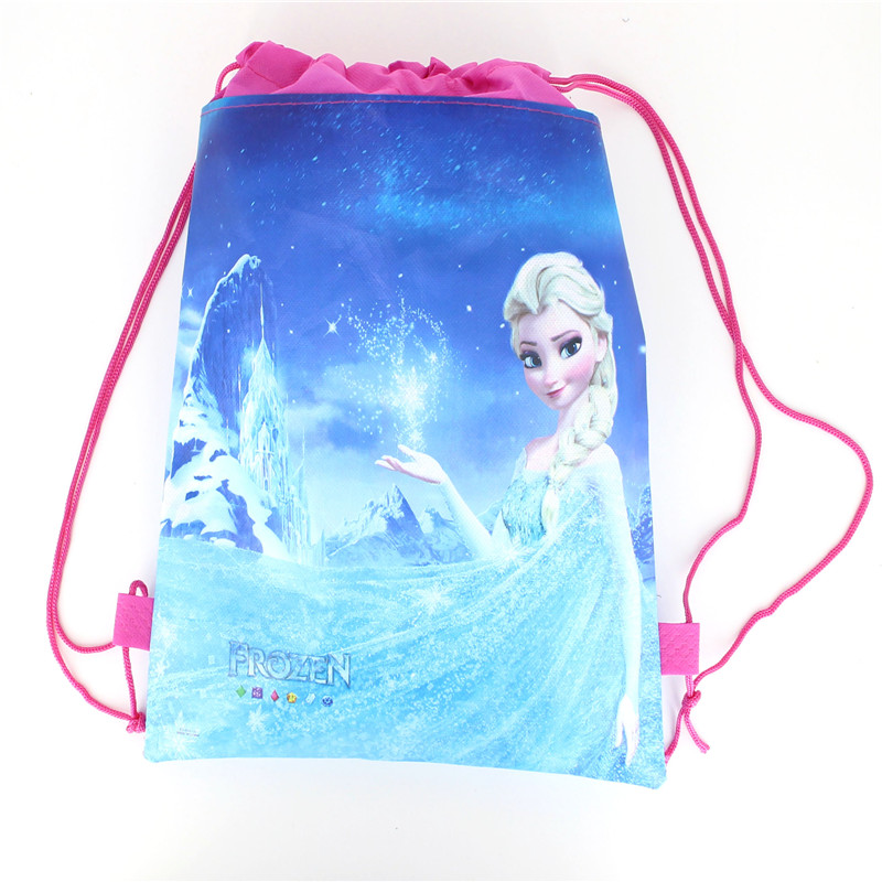 1pcs Disney Forzen Elsa & Anna Kid Favor Cotton Drawstring Bags Travel Pouch Storage Clothes Shoes Bags School Portable Backpack(China)