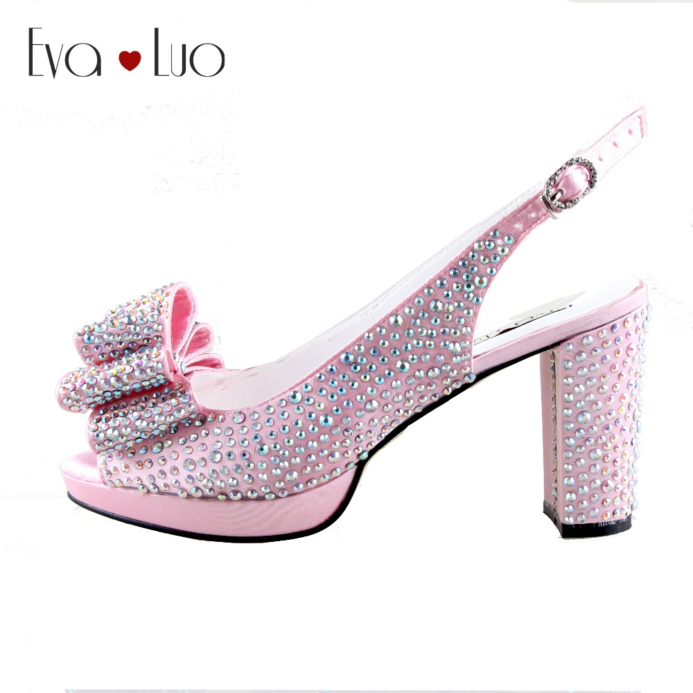 CHS953 Gorgeous Custom Handmade Light Pink AB Crystal Bow Slingbacks Shoes High Heels Women Shoes Bridal