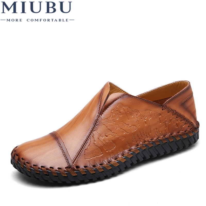 MIUBU Brand Fashion British Style Men Causal Shoes Leather Slip On Men Shoes High Quality Outdoor Shoes Zapatos Hombre