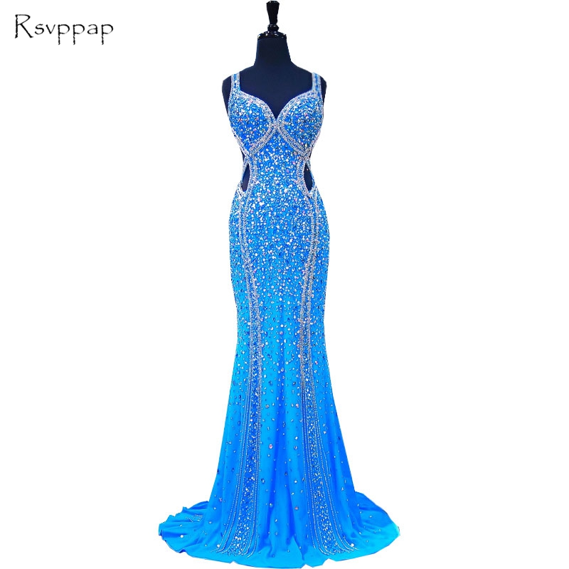 Luxury Mermaid Sweetheart Spaghetti Strap Beaded Crystals African Blue Backless Chiffon Long   Prom     Dresses   2019 Party