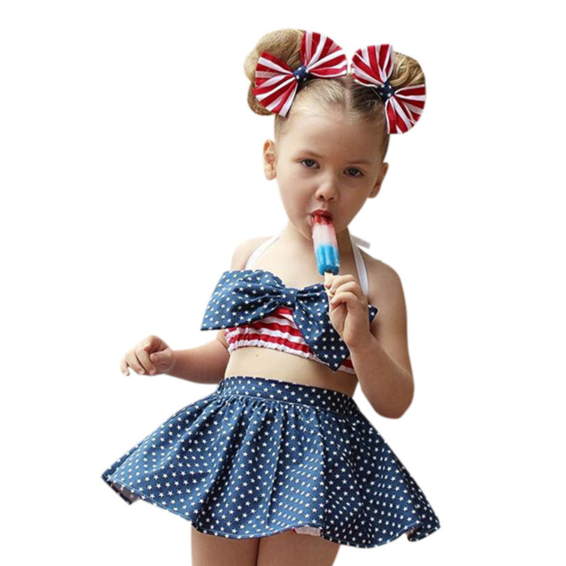 baby clothes 2017 fashion Toddler Kids Baby Girl Star and Stripe Tops Shorts Headband Clothes Outfit Set