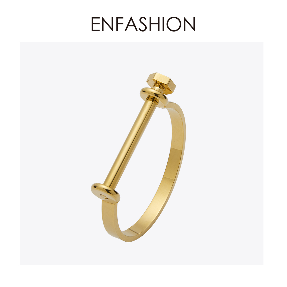 Enfashion Shackle U Cuff Bracelet Noeud armband Gold Color Screw Bangle Bracelet For Women Bracelets Manchette Bangles