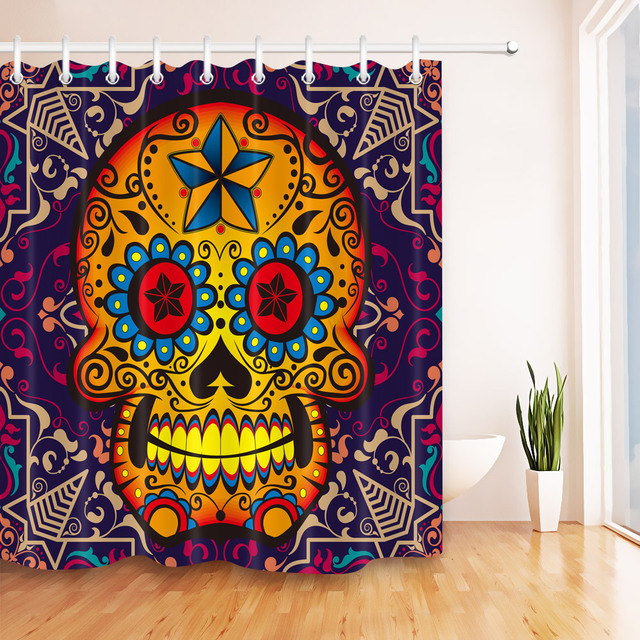 LB 180180 Custom Funny Candy Gothic Sugar Skull Shower Curtains Bathroom Curtain Waterproof Polyester