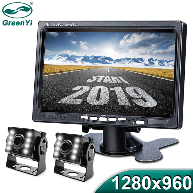 GreenYi 1280*960 High Definition AHD Truck Starlight Night Vision Backup Camera 7 inch Vehicle Reverse Monitor For Bus Car
