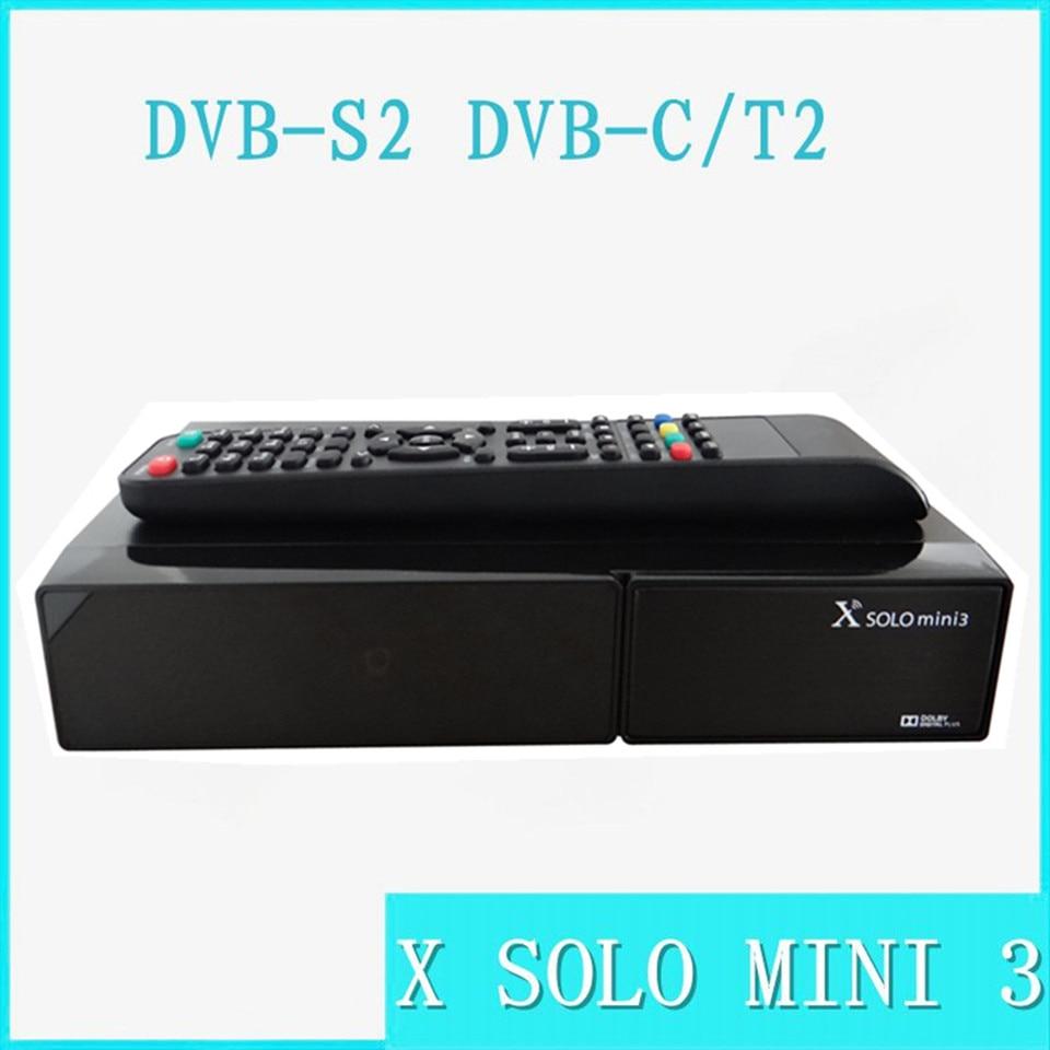 2pcs X SOLO MINI 3 Satellite Receiver 1200MHz Dual DMIPS Processor 1GB DDR3 4GB Serial Flash  DVB-S2+DVB-T2/C wavelets processor