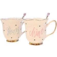 Creative European coffee cup of tea ceramic mug spoon lover water glass gold and tidal B