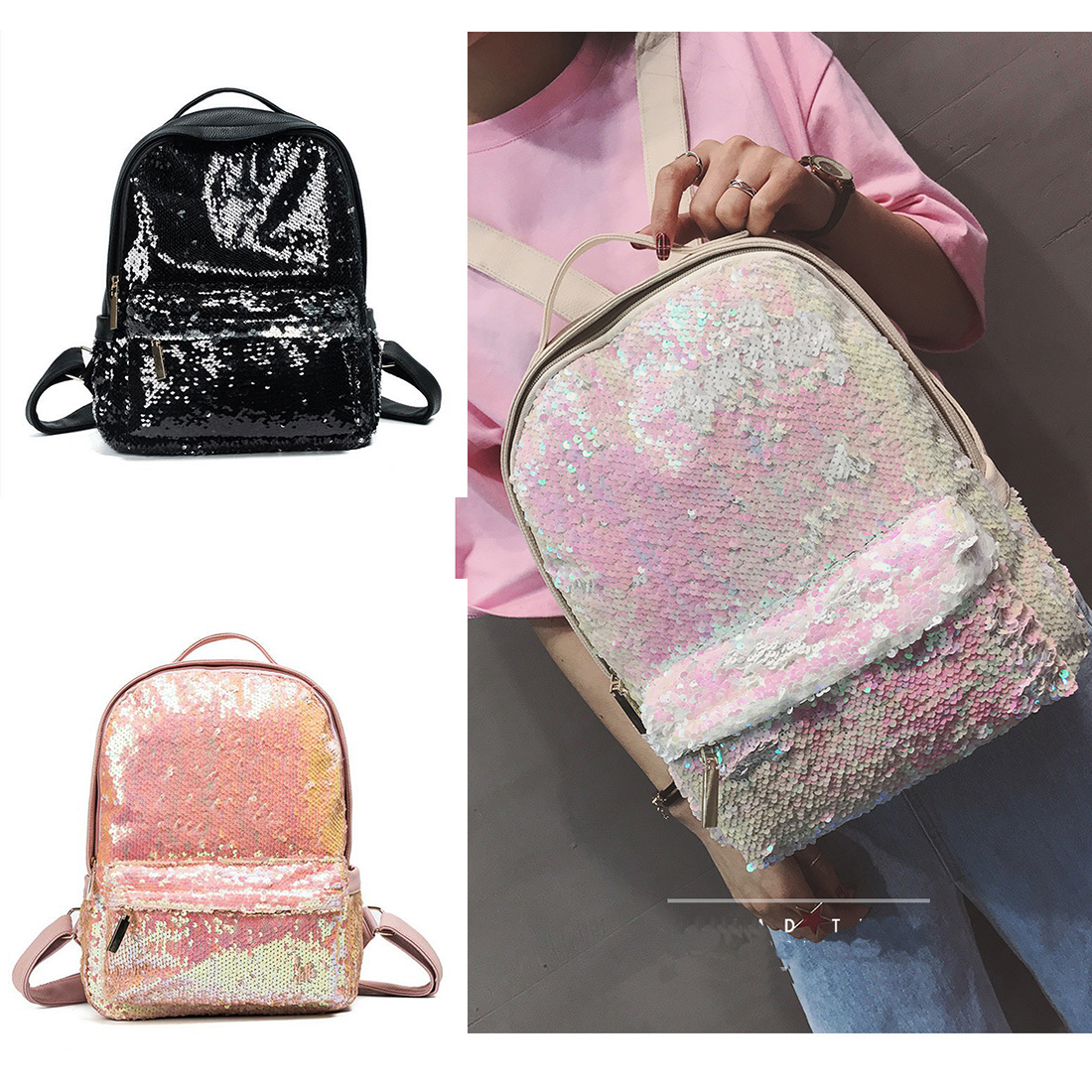 yjgjz house 2017 new arrival women bag pu leather sequins backpack