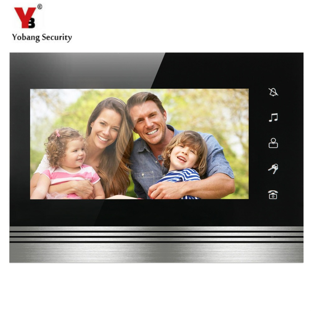 YobangSecurity Metal Aluminum Panel 7 Inch Color TFT LCD Screen Monitor Wired Video Door Entry System Video Door Phone Intercom 7 inch video doorbell tft lcd hd screen wired video doorphone for villa one monitor with one metal outdoor unit rfid card panel